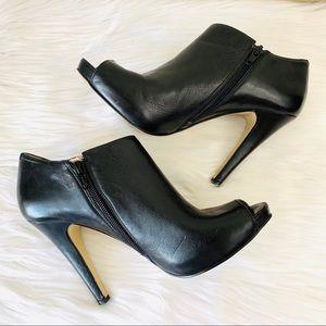 {Nine West} Leather Phantom Peep Toe Booties